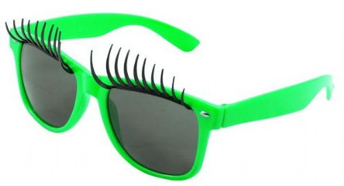 Party Glasses with Eyelashes Neon